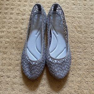 Gray flats with lace